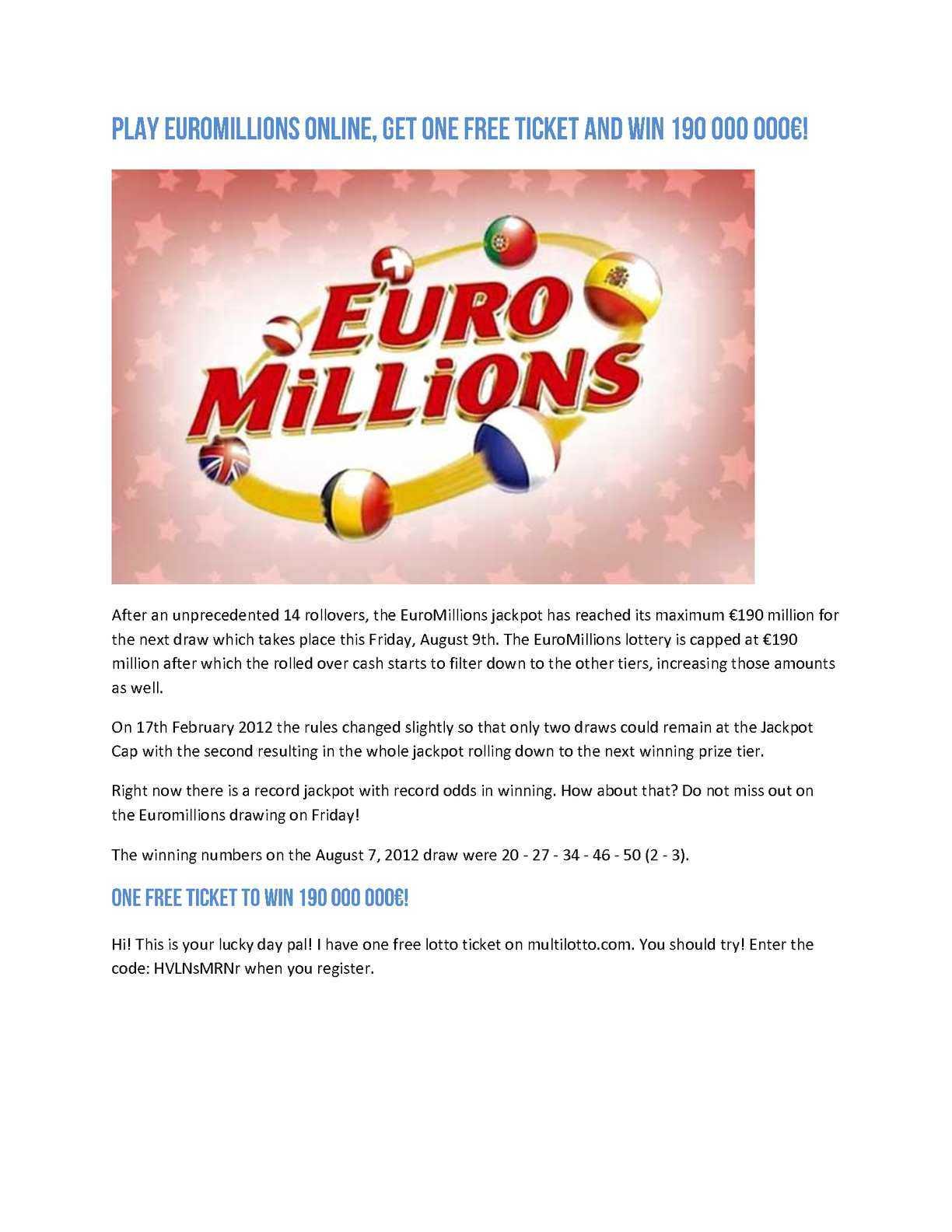 مليون يورو | أكبر يانصيب رسمي في أوروبا